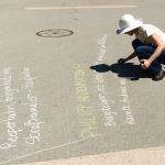 Beschriftung des Kreuzackerplatzes. Writting onto Kreuzacker square.