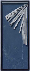 gemalte Jalousie, Malerei, Fenster, Öl auf Holz
